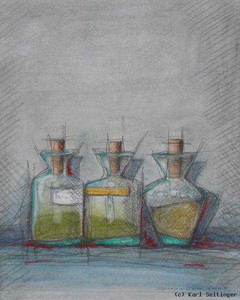 glasflaschen mit korken von karl seitinger at k nstler kunst und kunstwerke. Black Bedroom Furniture Sets. Home Design Ideas