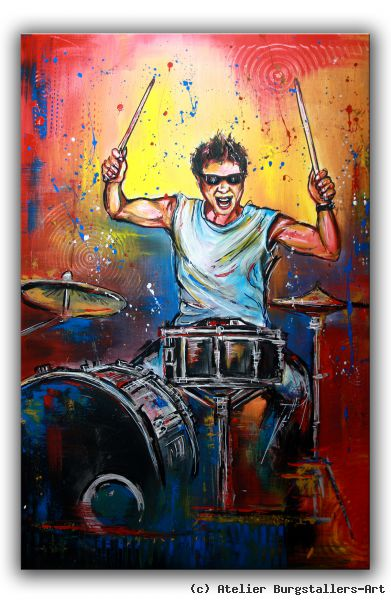 drummer schlagzeuger musiker acrylbild handgemalt von atelier burgstallers art at. Black Bedroom Furniture Sets. Home Design Ideas