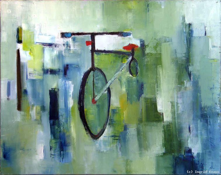 Ingrid knaus fahrrad mit rotem sattel
