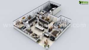 Moderne villa grundriss 3d  Außenansicht Moderne Villa Design von Yantram Studio - 3D ...